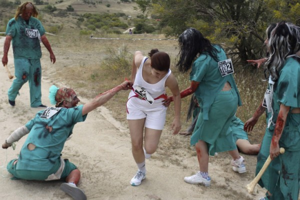 A Female Runner Attacked by Zombies