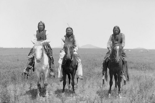 Three mounted Comanche warriors, 1892