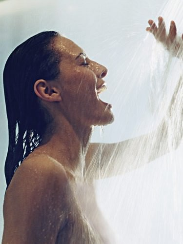 Showering for the first time after a haircut
