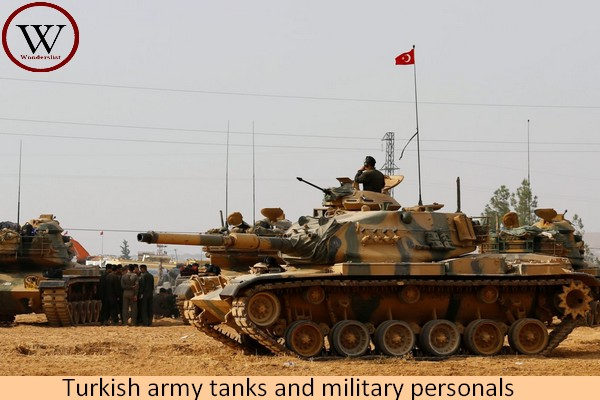 Turkish army tanks and military personal