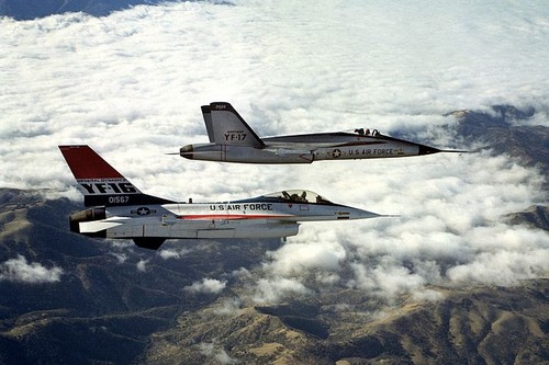 YF-16 and YF-17 in flight