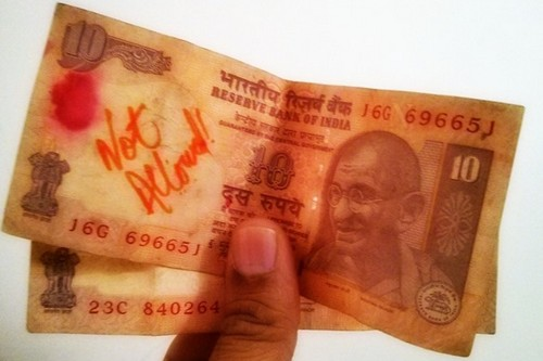 scribbled indian currency