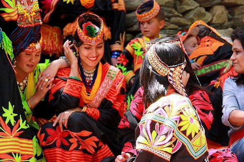 Beautiful Kalash women traditional clothing