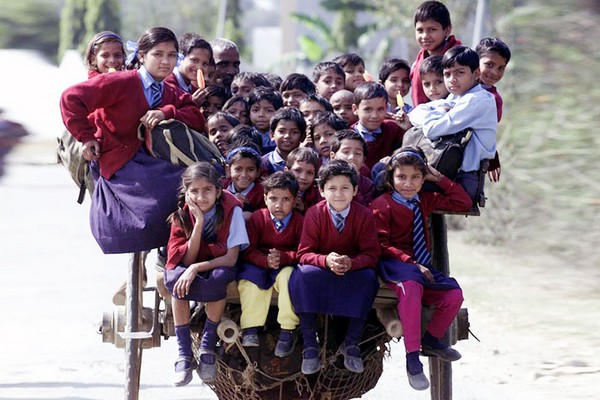Schoolchildren Riding A Horse Cart Back From School