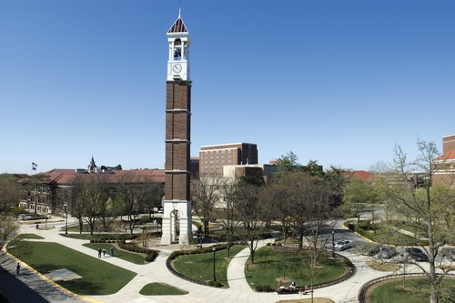 elevated views of Bell Tower and Hovde. Engineering Mall