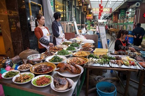 Food Street in Xian, China