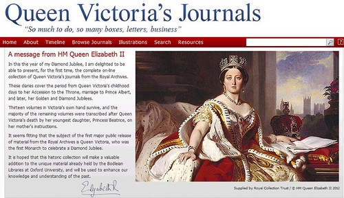 Screen grab of Queen Victoria's Journals website