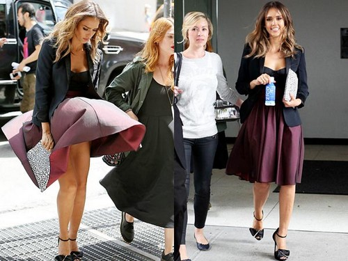 Jessica Alba up skirt moment