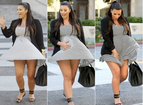 Kim Kardashian up skirt moment