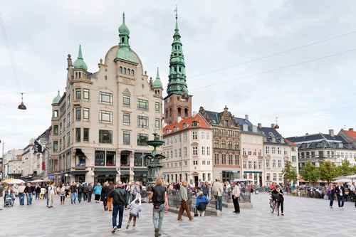 Amagertorv central square in Copenhagen Denmark