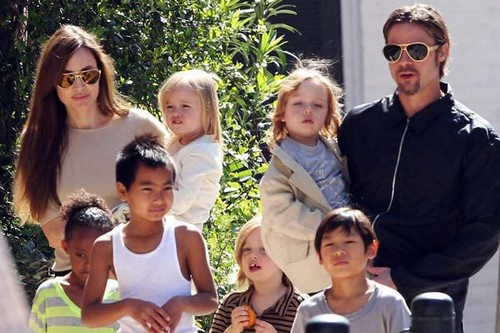Brad Pitt and Angelina and kids