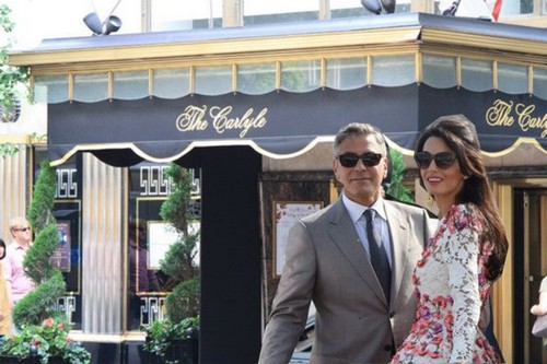 Amal and George Clooney at Carlyle Hotel NYC