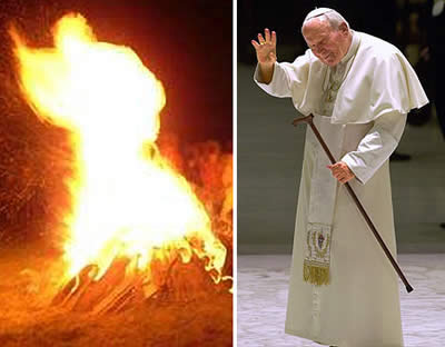 Pope John Paul II makes a fiery appearance in Poland