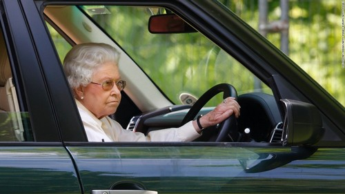 Queen Elizabeth II drives a Range Rover