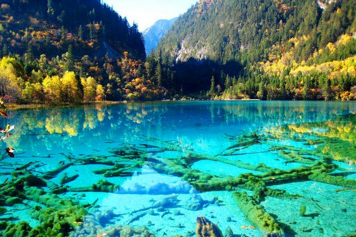 Crystalline Turquoise Lake, Jiuzhaigou National Park, China.