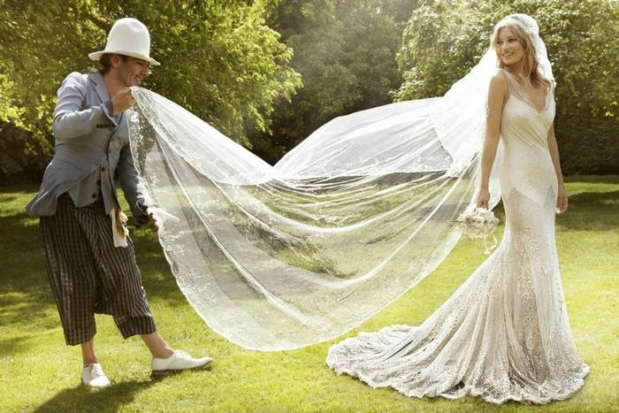 Sheer wedding dress of Kate Moss
