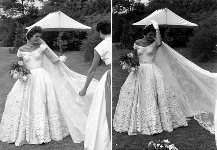 The ball gown wedding dress of Jacqueline Bouvier