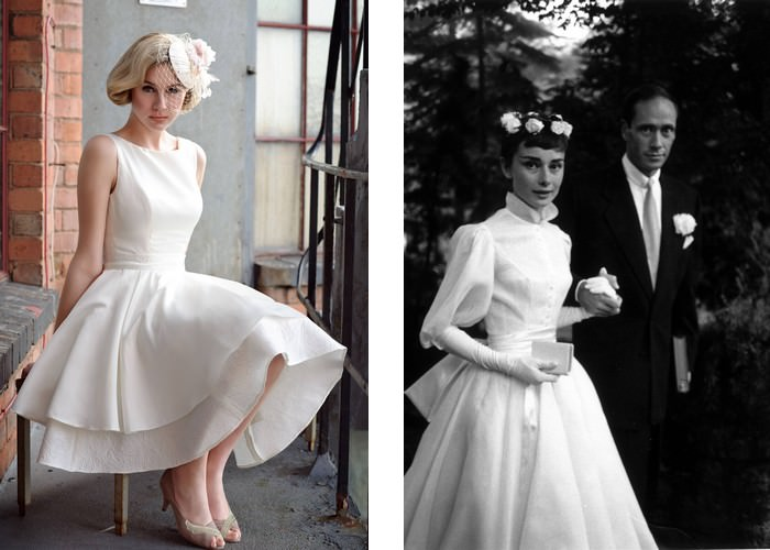 The high collar wedding outfit, worn by Audrey Hepburn