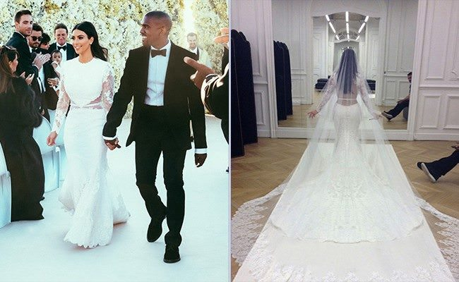 The lace cut-out wedding dress, worn by Kim Kardashian