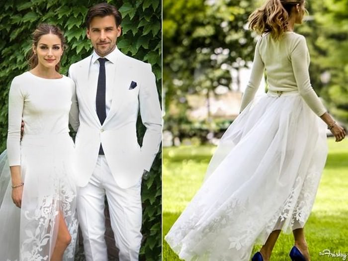 The three-piece wedding dress, worn by Olivia Palermo