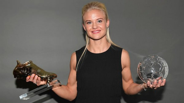 Pernille Harder with her trophies