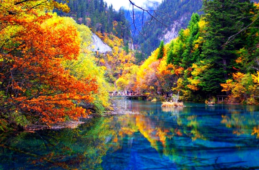 Five flower lake, China places with crystal clear water