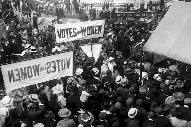 Suffragettes gathering to protest in London